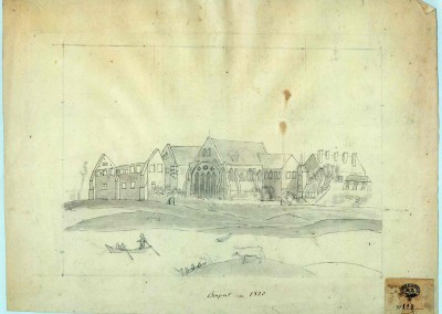 """Gravure """"Bonport en 1820"""""""